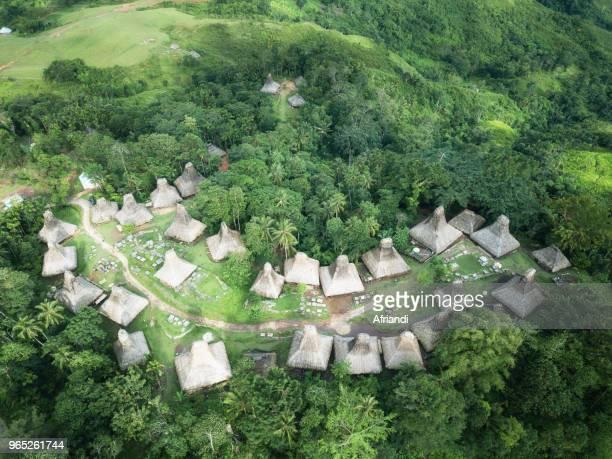 Aerial view of Umbu Koba village, Sumba Island, Indonesia