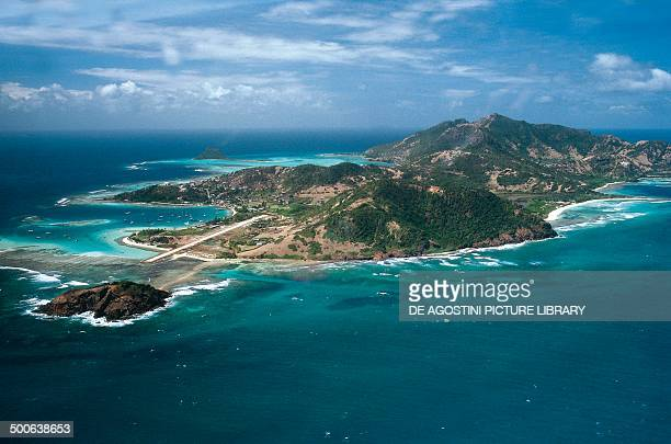 Aerial view of Union Island, Grenadines, Saint Vincent and the Grenadines.