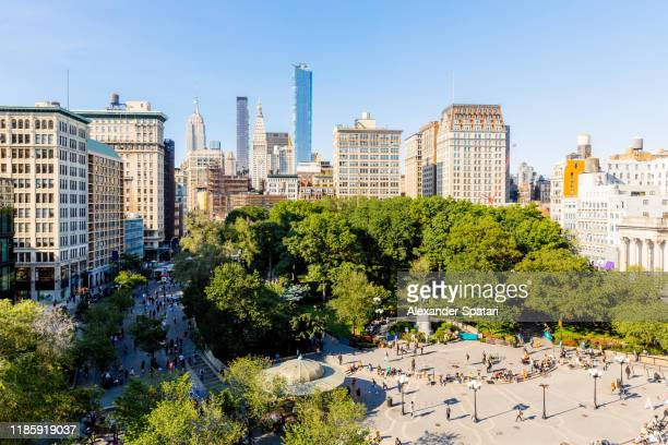 aerial view of union square on a sunny day, new york, usa - union square new york city stock pictures, royalty-free photos & images
