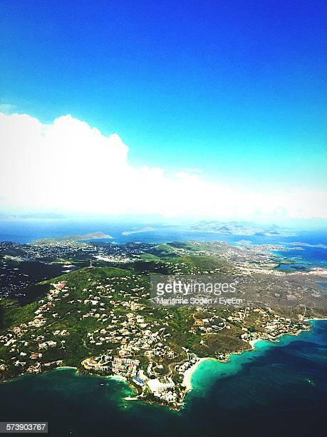 Aerial View Of United States Virgin Islands Against Sky