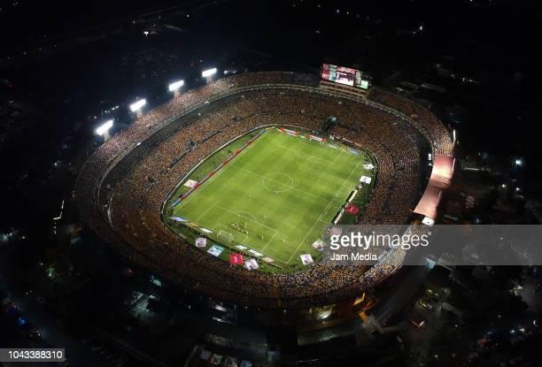 Aerial view of Universitario Stadium during the 10th round match between Tigres UANL and Monterrey as part of the Torneo Apertura 2018 Liga MX at...
