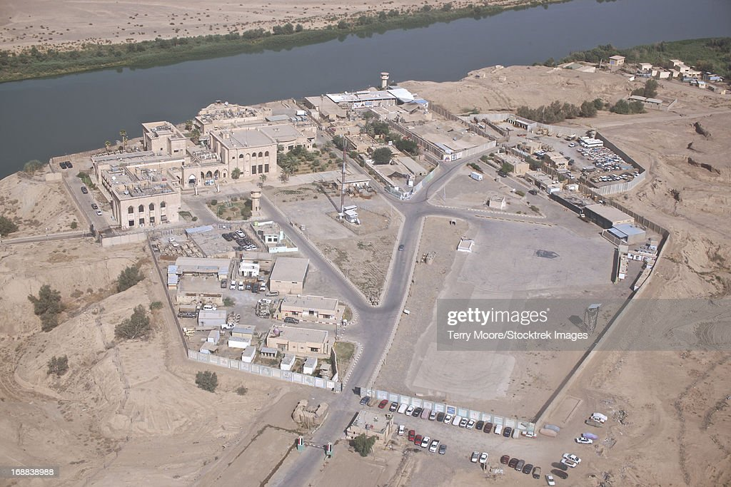 Aerial view of unknown forward operating base in Northern Iraq. : Stock Photo