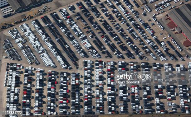 KINGDOM Aerial view of unsold cars and vans at a car storage area near Long Marston in Warwickshire Photograph by David Goddard