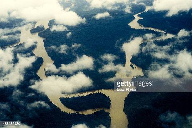 Aerial view of untouched Amazon rain forest where the river penetrates the forest Acre State Brazil