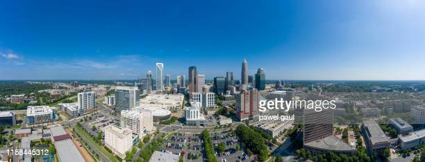 aerial view of uptown downtown charlotte north carolina - charlotte north carolina stock pictures, royalty-free photos & images