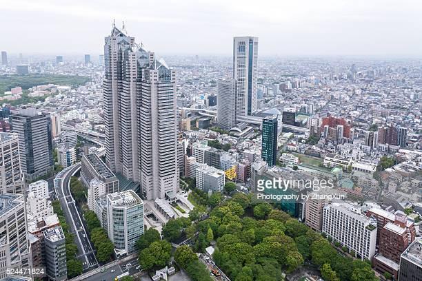 Aerial view of urban landscape of Tokyo Shinjuku