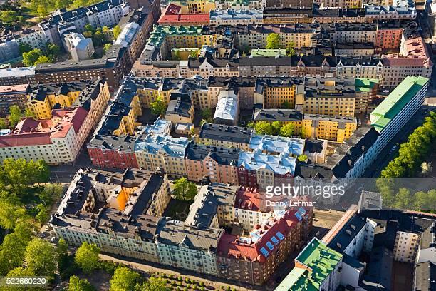 aerial view of urban neighborhood in helsinki - ヘルシンキ ストックフォトと画像