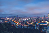 aerial view of urban traffic with cityscape in Shenzhen,China