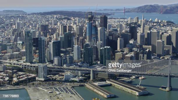 Aerial view of urban waterfront, San Francisco, California, United States