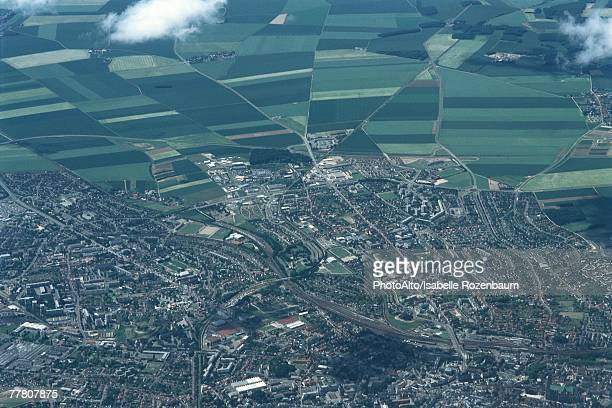 aerial view of urbanized area bordering on rural fields - country geographic area stock pictures, royalty-free photos & images