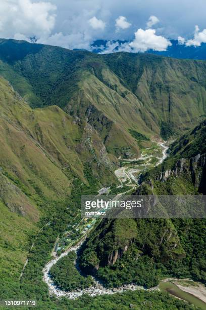 aerial view urubamba valley with hydroelectric