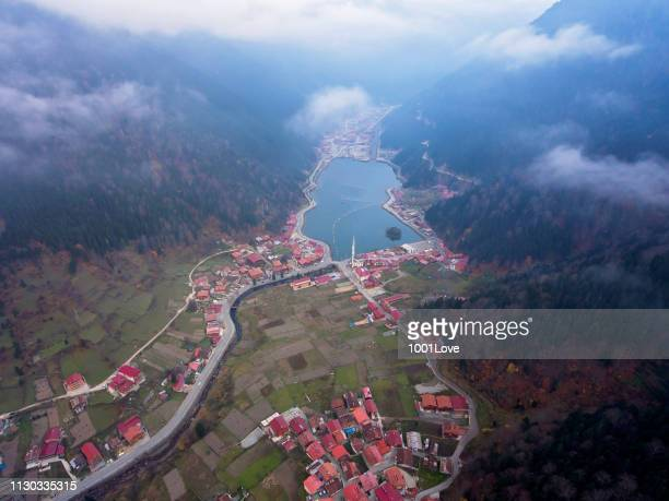 Aerial view of Uzungol Lake in Trabzon
