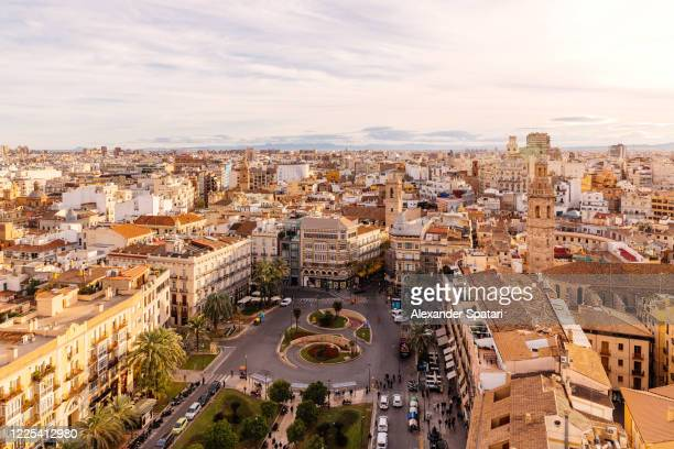 aerial view of valencia cityscape and placa de la reina square, spain - valencia stock pictures, royalty-free photos & images