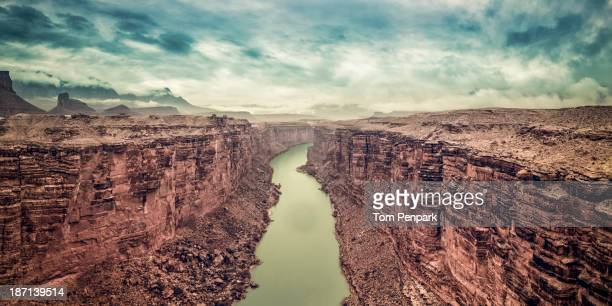 aerial view of valley in rock formations, page, arizona, usa - canyon foto e immagini stock