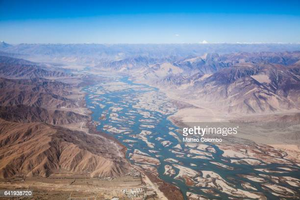 Aerial view of valleys near Lhasa, Tibet, China