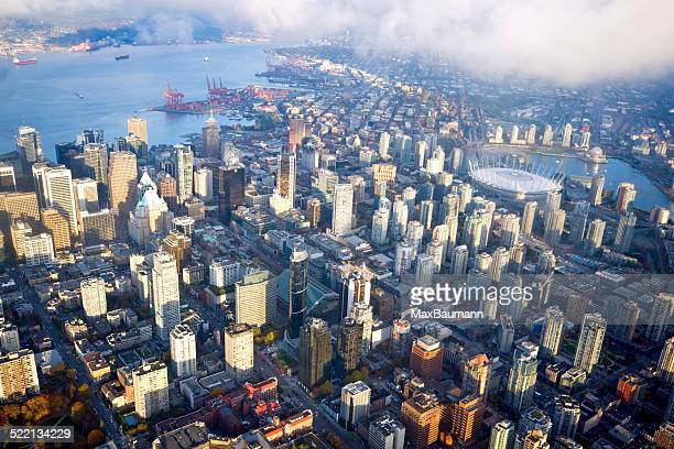 aerial view of vancouver downtown - vancouver canada stock photos and pictures
