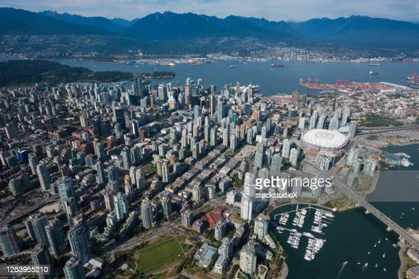 aerial view of vancouver in summer - vancouver canada stock pictures, royalty-free photos & images
