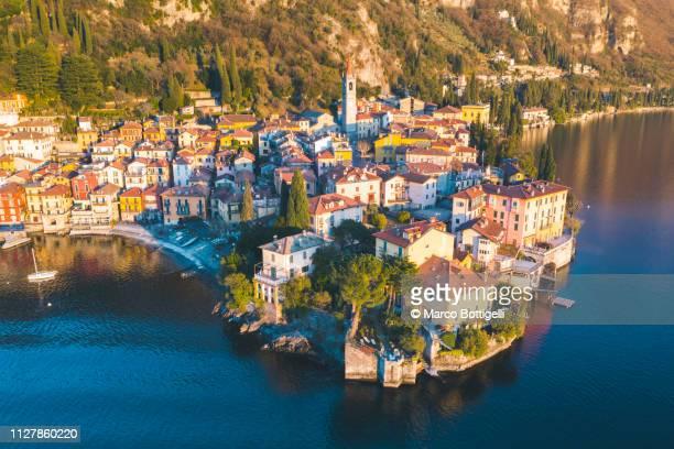 aerial view of varenna on lake como, italy - chum stock-fotos und bilder
