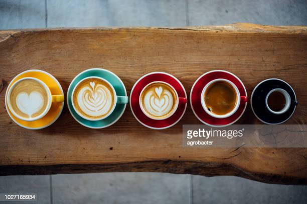 aerial view of various coffee - espresso stock photos and pictures