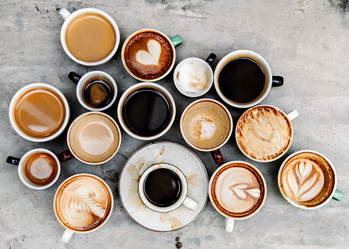 Aerial view of various coffee 938993594