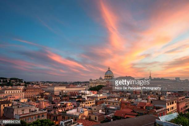 aerial view of vatican city at sunset - roma stock photos and pictures