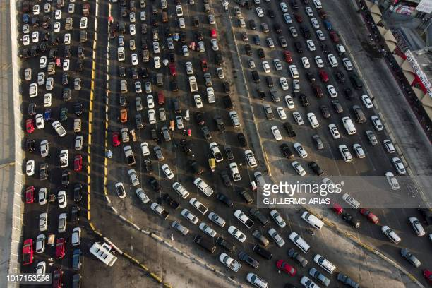 Aerial view of vehicles lining up to cross to the United States at San Ysidro Port of Entry as seen from Tijuana Baja California state Mexico on...