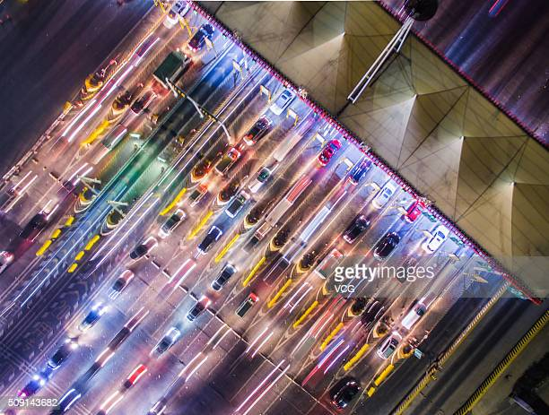 Aerial view of vehicles lining up to drive off Nanjing City as they head back hometown during the upcoming Spring Festival on February 5 2016 in...