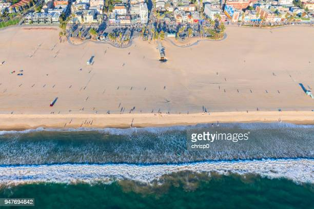 aerial view of venice beach - venice foto e immagini stock
