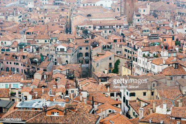 Aerial view of Venice historical center with tiled rooftops, Venice, Italy