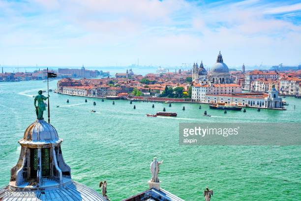 aerial view of venice, italy - lagoon stock pictures, royalty-free photos & images