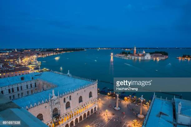 aerial view of venice - basilica di san marco foto e immagini stock