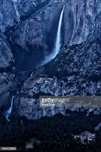 Aerial view of Vernal Falls and Nevada Falls at dusk from Glacier View overlook in summer, Yosemite National Park, California