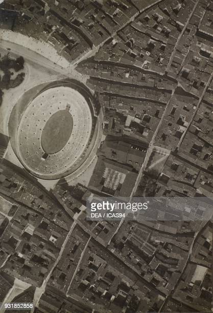 Aerial view of Verona Arena World War I Italy 20th century