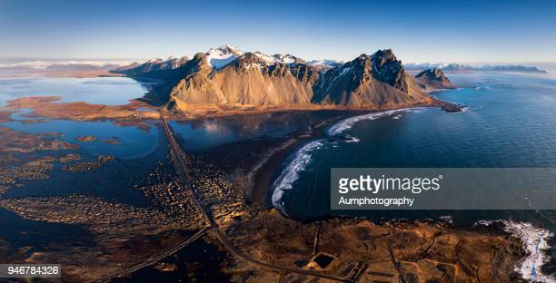 Aerial view of Vesturhorn Mountain, Iceland