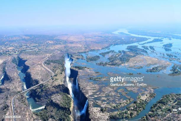 aerial view of victoria falls and zambezi river - world record stock pictures, royalty-free photos & images