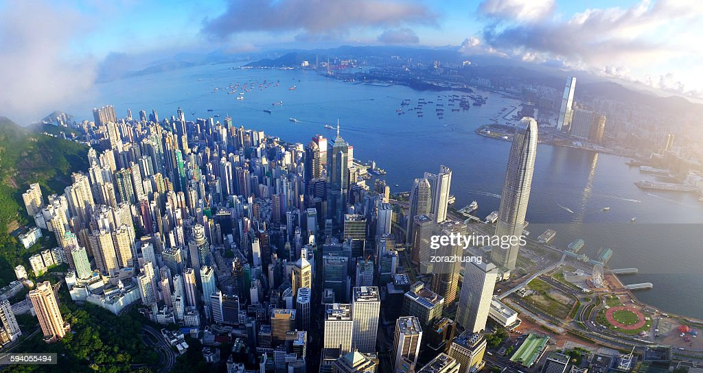 Aerial view of Victoria harbour in sunrise : Stock Photo