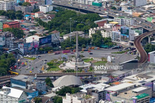 Aerial view of Victory Monument in Bangkok