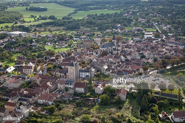 aerial view of villeneuve d'aveyron, france - aveyron stock pictures, royalty-free photos & images
