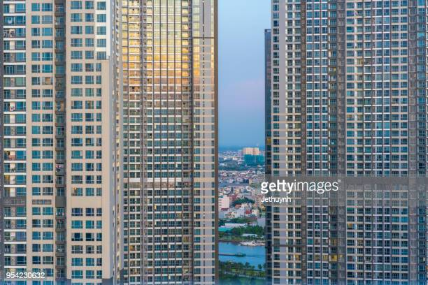 aerial view of vinhomes central park buildings– vietnam most modern, classy township development close view - real_property stock pictures, royalty-free photos & images