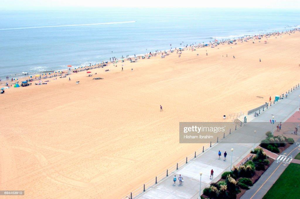 Aerial View Of Virginia Beach Sea And Boardwalk Usa