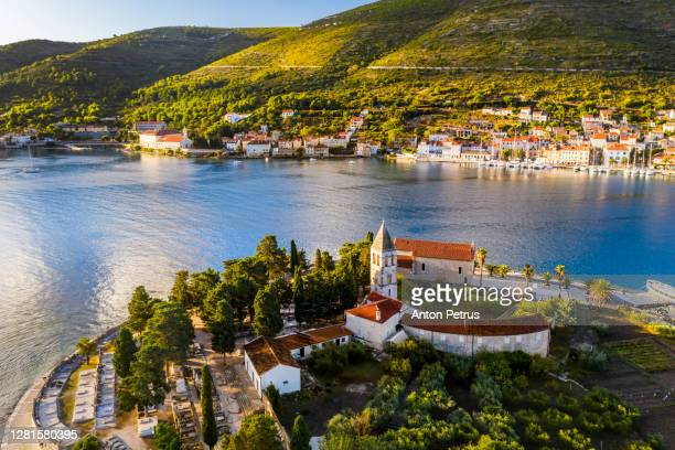 aerial view of vis town on vis island, croatia - croatia stock pictures, royalty-free photos & images