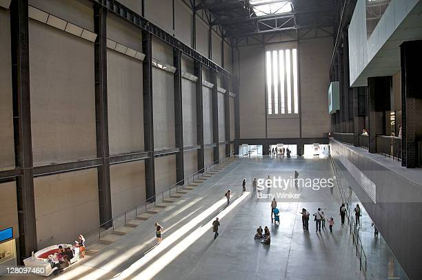 Aerial view of visitors in Turbine Hall at Tate Modern, London, United Kingdom