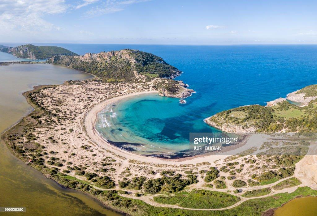Aerial view of Voidokilia Beach, a popular beach in Messinia in the Mediterranean area : Stock Photo