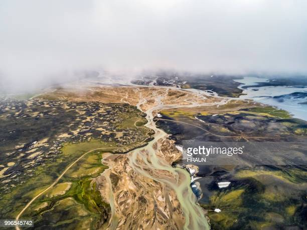 aerial view of volcanic landscape in highlands of iceland. - motivo naturale foto e immagini stock