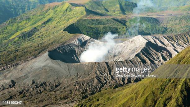 aerial view of volcanic mountains - bromo tengger semeru national park stock pictures, royalty-free photos & images