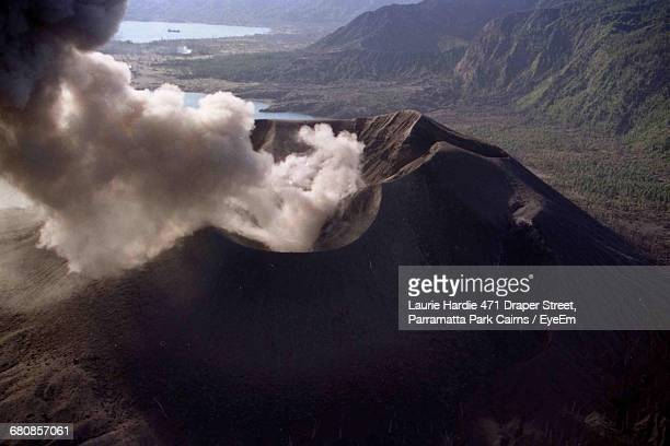 Aerial View Of Volcano Emitting Smoke