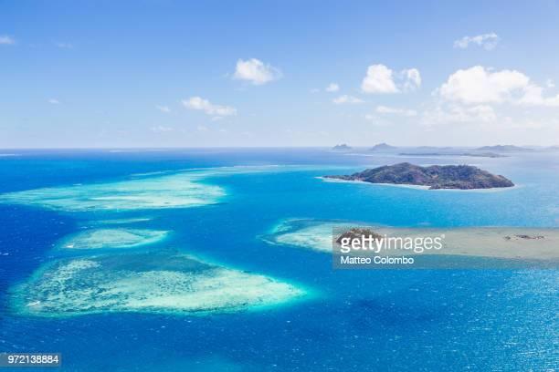 Aerial view of Wadigi and Malolo islands, Malolo reef, Mamanucas islands, Fiji