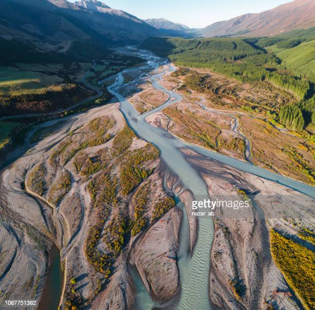 Aerial view of Waiau River and Hanmer Forest Park, New Zealand.