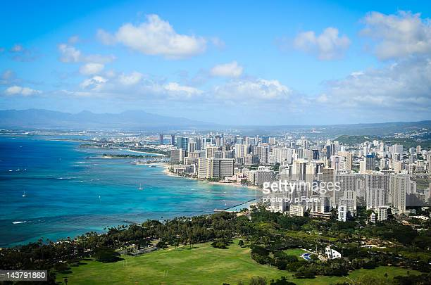 Aerial view of Waikiki beach and Honolulu