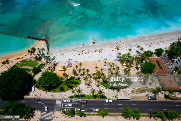 Aerial view of Waikiki beach, Hawaii, United States
